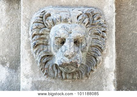 Sculpture Of A Lion's Head On Building Wal