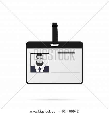 Identification card with shadow on a white background flat style