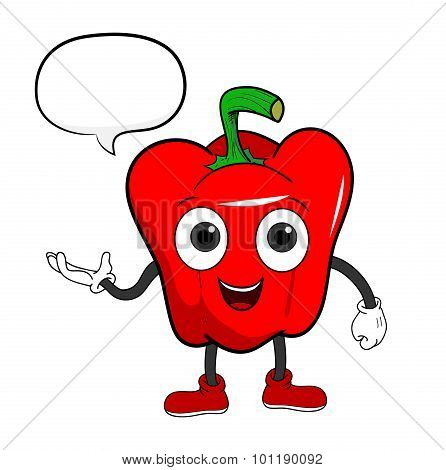 Cartoon Bell Pepper With Text
