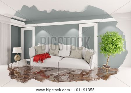 Flooded room with floating furnitare after a flood (3D Rendering)