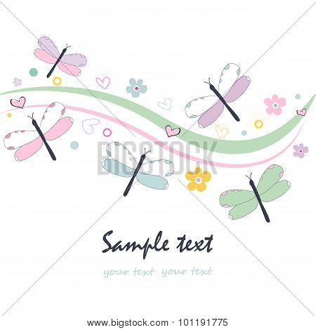 Colorful floral greeting card with dragonfly vector