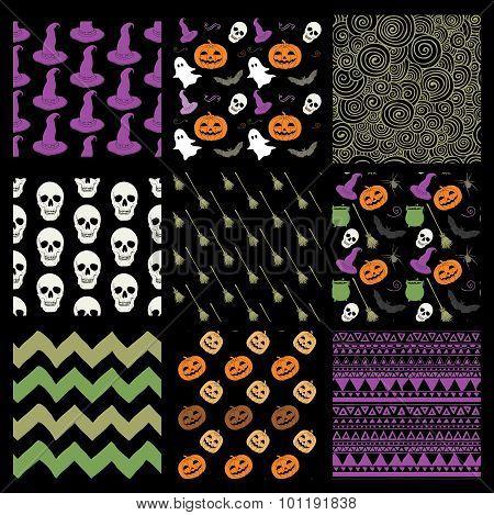 Vector Colorful Sketched Doodle Halloween Patterns Set
