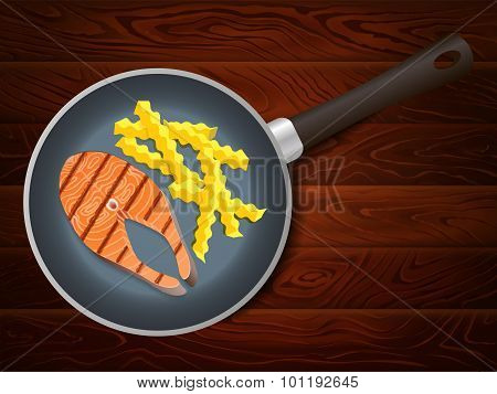 Frying Pan Salmon French Fry Wooden Table