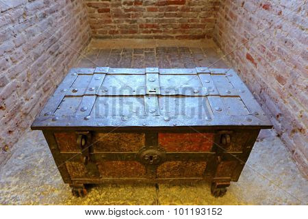 VERONA, ITALY - SEPTEMBER 2014 : An antique chest at Castle Fortress (Castelvecchio) in Verona, northern Italy on September 14, 2014.