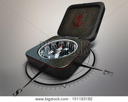 compass of dark wood