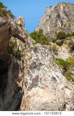 Vertical Coastal Landscape With Rocks And Cave
