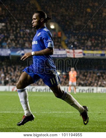 LONDON, ENGLAND. 08 December 2009. - Didier Drogba playing for Chelsea  during the Uefa Champions League match, between Chelsea and Apoel Nicosia at Stamford Bridge.