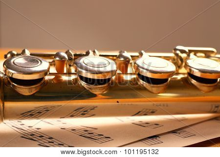 Silver flute with music notes on gray background