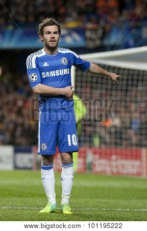 LONDON, ENGLAND. 06 DECEMBER 2011. Chelsea's Spanish midfielder Juan Mata directs play during the UEFA Champions League match between Chelsea and Valencia from Spain, played at Stamford Bridge.