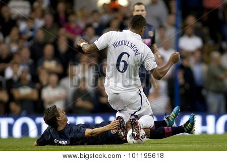 LONDON ENGLAND 25 August 2011.  Hearts player Rudi Sk�¢?�¡cel tackles Tottenham's Tom Huddlestone during the UEFA Europa league match between Tottenham Hotspurs  and Hearts. Played at White Hart Lane.
