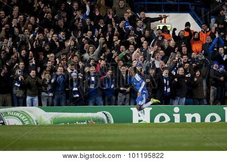 LONDON, ENGLAND. 06 DECEMBER 2011.  Chelsea's Ivory Coast forward Didier Drogba celebates during the UEFA Champions League match between Chelsea and Valencia from Spain, played at Stamford Bridge.