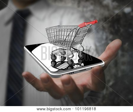 Businessman Hand Showing Shopping Cart With Smart Phone