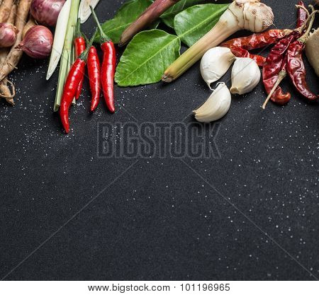 Traditional Thai Food Cuisine Herb Ingredient Of Tom Yum Spicy Soup On Black Background