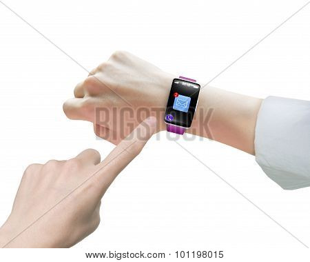 Female Index Finger Pointing Smartwatch Email Icon Black Touchscreen