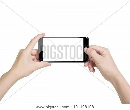 Female Hands Taking Photo With Smartphone Of Blank White Touchscreen
