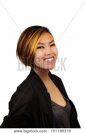 Smiling Portrait Asian American Woman Sweater Jacket