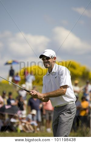 PARIS FRANCE, 04 JULY 2009. Charl Scwartzel (RSA) grimaces after missing a birdie putt competing in the 3rd round of the PGA European Tour Open de France golf tournament.