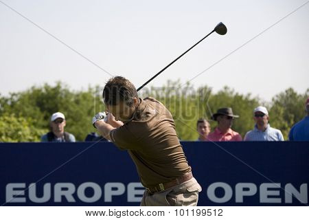 KENT ENGLAND, 31 MAY 2009. Mark FOSTER (GBR) playing in the final round of the European Tour European Open golf tournament.
