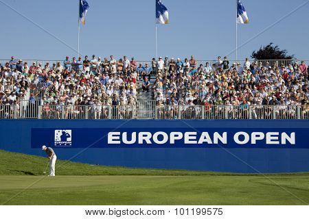 KENT ENGLAND, 31 MAY 2009. Christian CEVAER (FRA) putting on the 18th to win the European Tour European Open golf tournament.