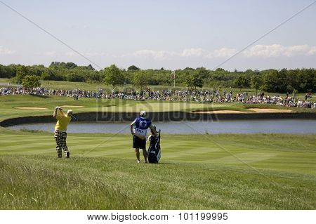 KENT ENGLAND, 29 MAY 2009. John DALY (USA) playing a shot from the fairway of the 5th hole during the second round of the European Tour European Open golf tournament.