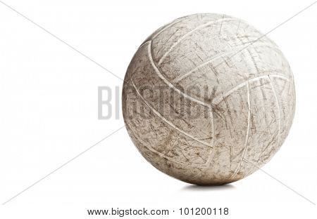 used volley ball isolated on white