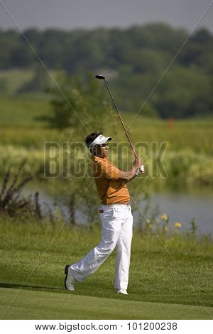 KENT ENGLAND, 29 MAY 2009. Thongchai JAIDEE (THA) playing in the second round of the European Tour European Open golf tournament.