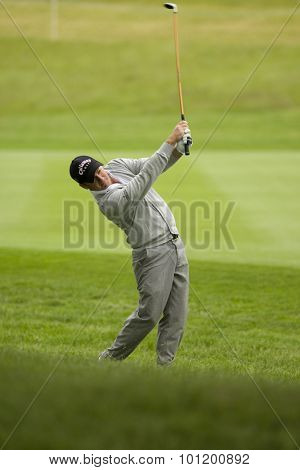 KENT ENGLAND, 27 MAY 2009. Graeme MCDOWELL (GBR) playing a shot from the fairway playing in the first round of the European Tour European Open golf tournament.