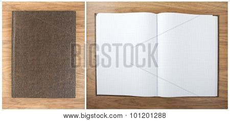 Blank Squared Notebook Sheets On A Table. Notebook With Hieroglyphics On The Cover.