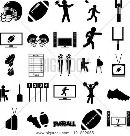 football season symbols set