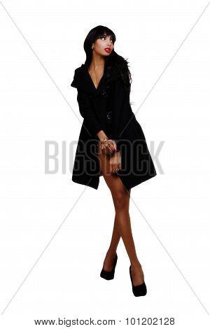 Skinny Asian American Woman Standing In Jacket