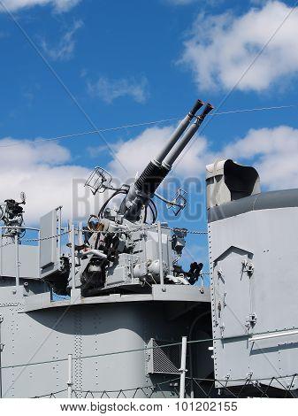 Gun Station On World War Ii Era Battleship
