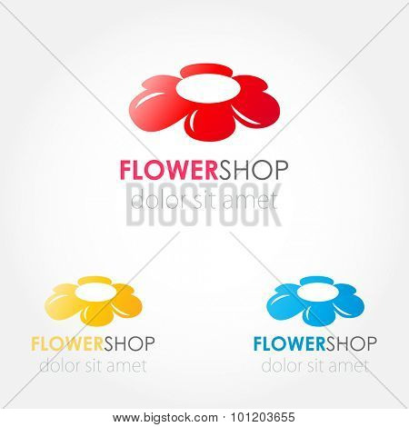 Abstract flowers logo set. Red, blue and yellow flowers. Vector logo sign for beauty business