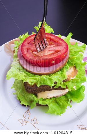 Sandwich With Tomato Cheese And Ham