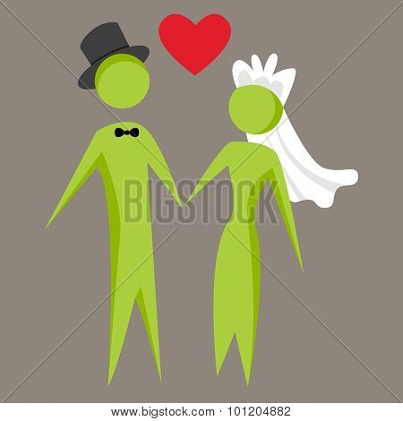 An image of an abstract recently married couple holding hands.