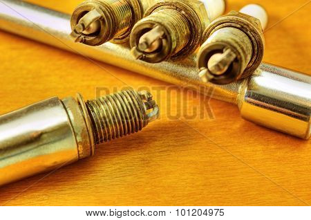 Spark plugs closeup