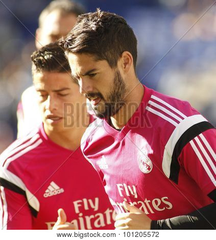 BARCELONA - MAY, 2015: Isco Alarcon of Real Madrid of before a Spanish League match against RCD Espanyol at the Power8 stadium on Maig 17 2015 in Barcelona Spain