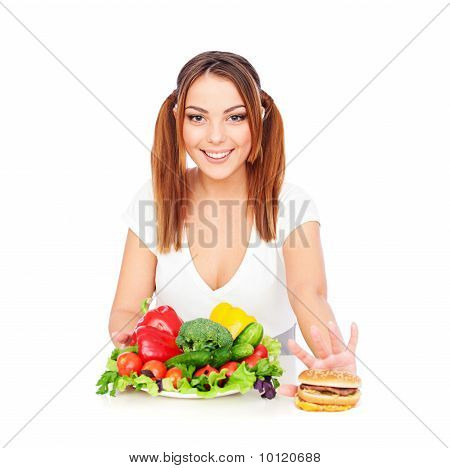 Smiley Woman With Vegetables And Burger
