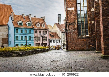 Medieval Street In The Old Riga City, Latvia