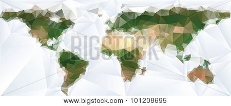 Vector abstract world map with triangles. Elements of this image furnished by NASA