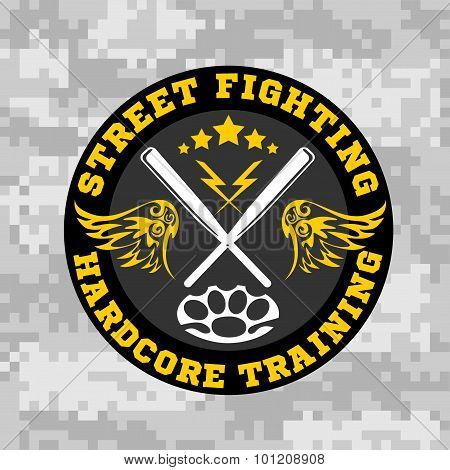 Street fighting emblem with baseball bats on camouflage background.