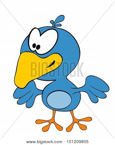 Cartoon Smiling Crow Isolated On White