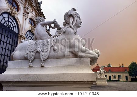 Sculptures At The Entrance Belvedere Palace, Vienna, Austria