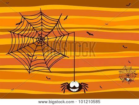 Halloween Background With Smiling Spider, Spiderweb And Bats