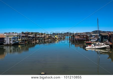Houseboats in Sausalito, California