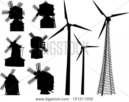 illustration with set of windmills silhouettes isolated on white background
