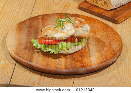 Toast, Toast Bread, Grilled Turkey Escalope, Tomato, Lettuce, Rosemary