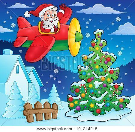 Christmas theme Santa Claus in plane - eps10 vector illustration.