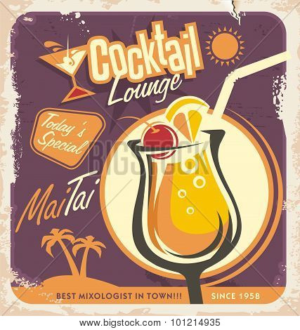 Retro poster design with one of the most popular cocktails