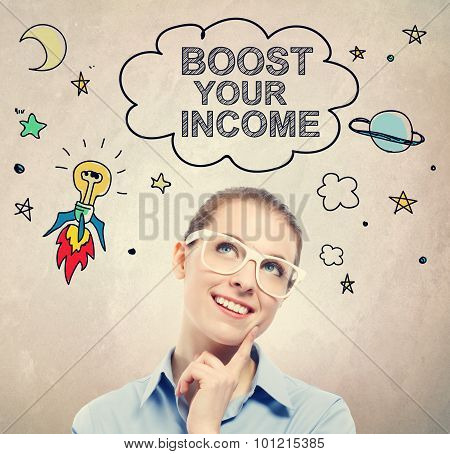 Boost Your Income Idea Sketch With Young Business Woman
