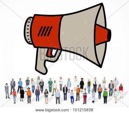 Announcement Megaphone Proclaim Message Illustration Concept